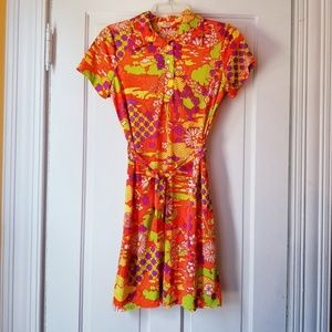 VTG Diane Young Shirt Dress 70s Psychedelic Hippie